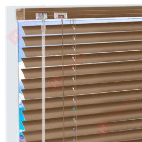 Горизонтальные алюминиевые жалюзи на пластиковые окна - цвет серо-бежевый