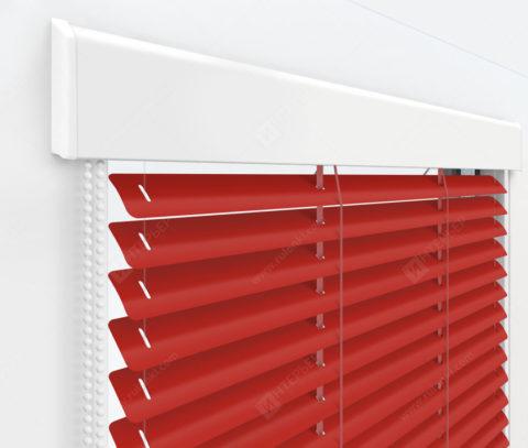 Жалюзи Изолайт 25 мм на пластиковые окна - цвет транспортно-красный