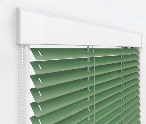 Жалюзи Изотра 25 мм на пластиковые окна - цвет бело-зеленый